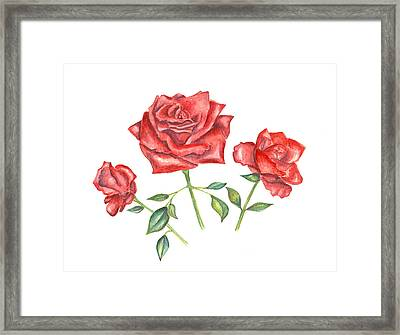 Framed Print featuring the mixed media Three Red Roses by Elizabeth Lock