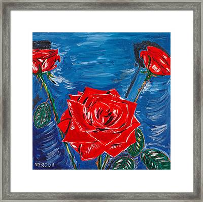 Three Red Roses Four Leaves Framed Print by Valerie Ornstein