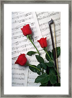 Three Red Roses  Framed Print by Garry Gay