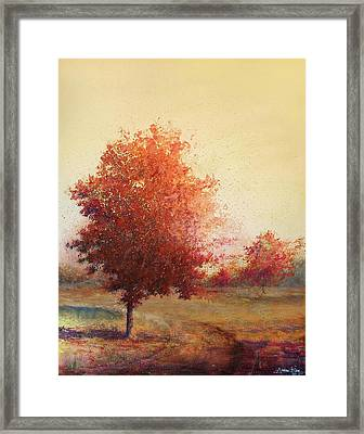 Three Red Trees Framed Print