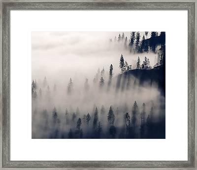 Three Ridges Fog Framed Print by Jerry Sodorff