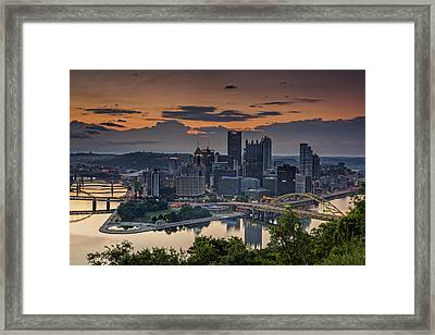 Three Rivers Sunrise Framed Print by Rick Berk