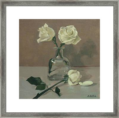 Three Roses In A Tequila Bottle Framed Print