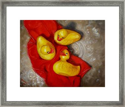 Three Rubber Ducks 2 Framed Print by Donelli  DiMaria