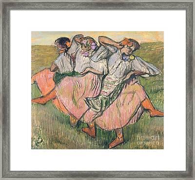 Three Russian Dancers Framed Print by Edgar Degas