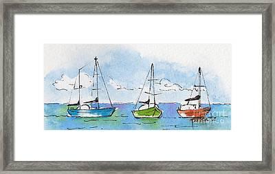 Three Sailboats Near Tahiti Framed Print by Pat Katz
