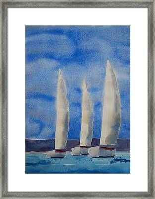 Three Sails Framed Print by Patricia Caldwell