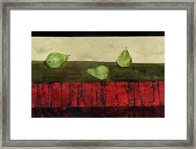 Three Sides Of Pears Framed Print by Ellen Beauregard