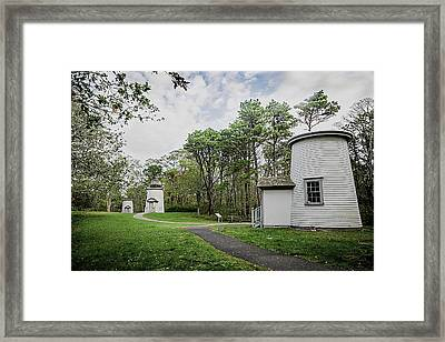 Three Sisters Lighthouses Framed Print