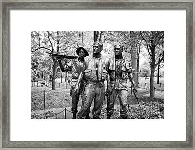Three Soldiers Or Servicemen Statue At The Vietnam Veterans Memorial Washington Dc Usa Framed Print