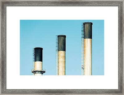 Three Stacks And A Man Framed Print