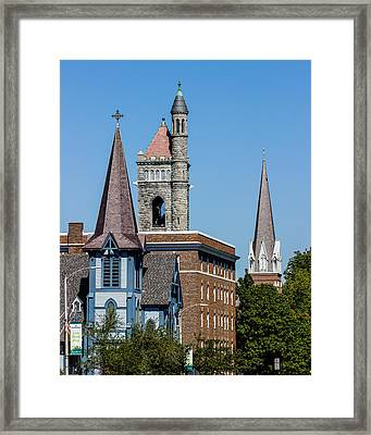 Three Steeples Of St Johnsbury Vermont Framed Print by Tim Kirchoff