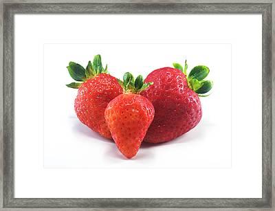 Three Strawberries Framed Print