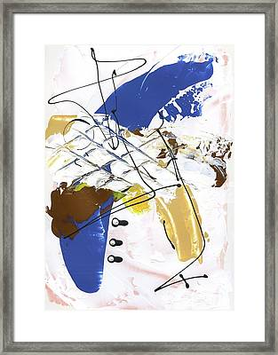 Framed Print featuring the painting Three Color Palette Blue 3 by Michal Mitak Mahgerefteh