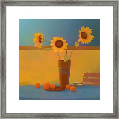 Three Sunflowers Framed Print