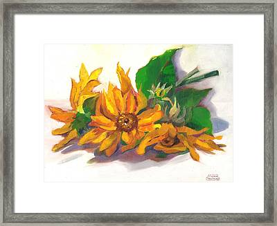 Three Sunflowers Framed Print by Susan Thomas