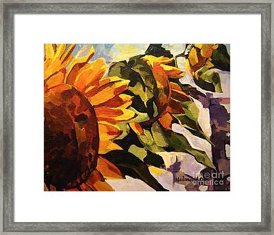 Framed Print featuring the painting Three Sunflowers by Tim  Heimdal