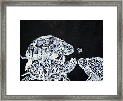 Framed Print featuring the painting Three  Terrapins And One Fly by Fabrizio Cassetta