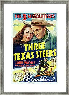 Three Texas Steers 1939 Framed Print by Republic