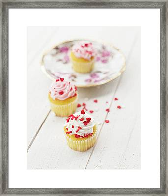 Framed Print featuring the photograph Three Tiny Cupcakes by Rebecca Cozart