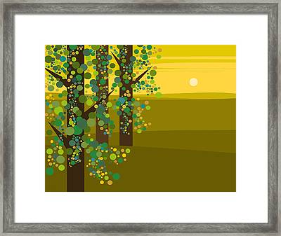 Three Trees In The Spring Framed Print by Val Arie