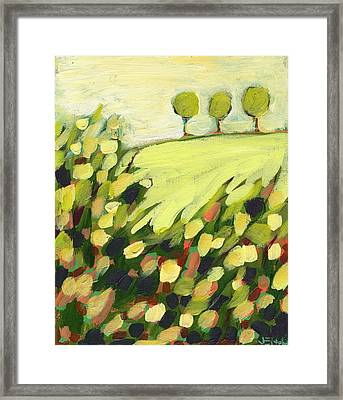 Three Trees On A Hill Framed Print by Jennifer Lommers