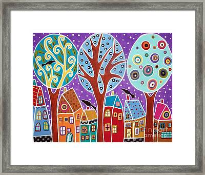 Three Trees Three Birds And Six Houses Framed Print by Karla Gerard