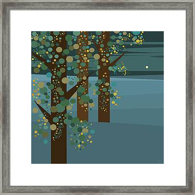 Three Trees With Gold Framed Print