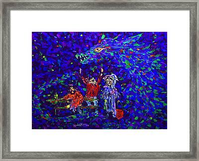 Three Trumbaniks At Parkbench With Dragon Framed Print