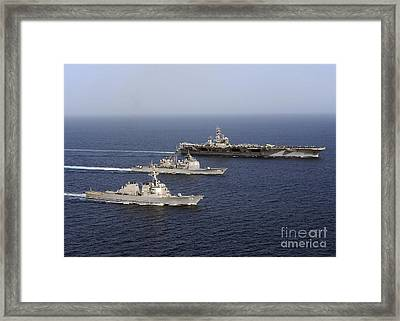 Three U.s. Navy Ships Sail In Formation Framed Print by Stocktrek Images