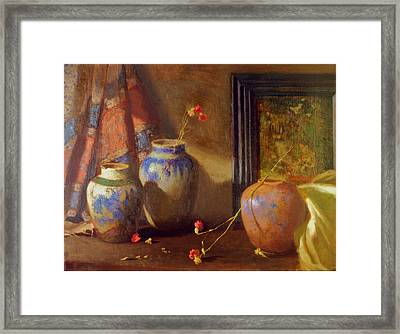 Three Vases With Impressionist Painting In Background Framed Print by David Olander