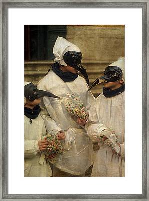 Three Venice Boys Celebrating At Carnival Framed Print by Suzanne Powers