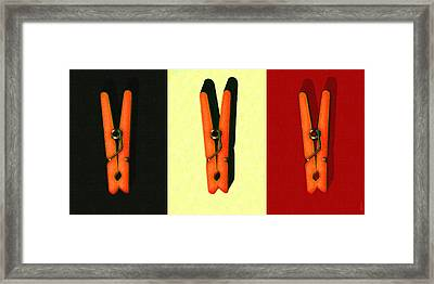 Three Whimsical Clothespins . Painterly Framed Print