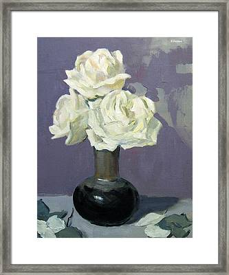 Three White Roses,abstract Background Framed Print
