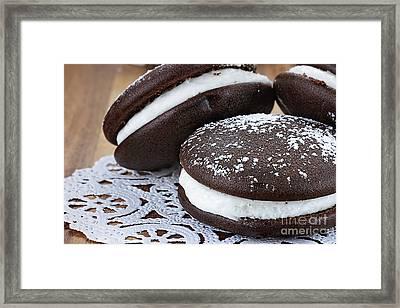 Three Whoopie Pies Or Moon Pies Framed Print