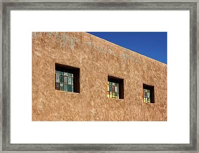 Three Windows In Taos Framed Print by Stuart Litoff