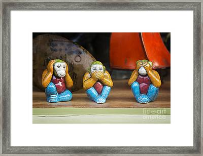 Three Wise Monkeys Framed Print by Tim Gainey