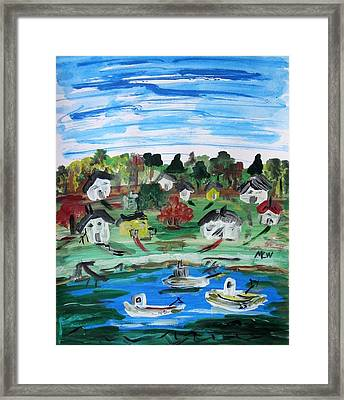 Framed Print featuring the painting Three Work Boats Return by Mary Carol Williams