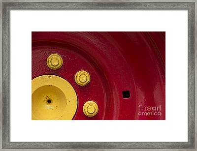 Three Yellow Nuts On A Red Wheel Framed Print by Wendy Wilton