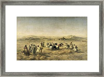 Threshing Wheat In Algeria Framed Print by Adolphe Pierre Leleux
