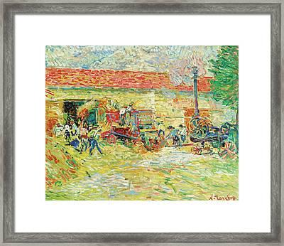 Threshing Wheat Framed Print