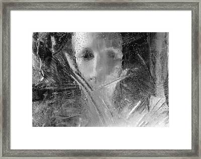 Through A Wintry Window Gaze... Thee Or Me? Framed Print