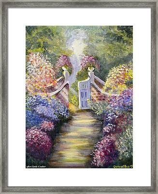 Framed Print featuring the painting Through The Garden Gate by Quwatha Valentine