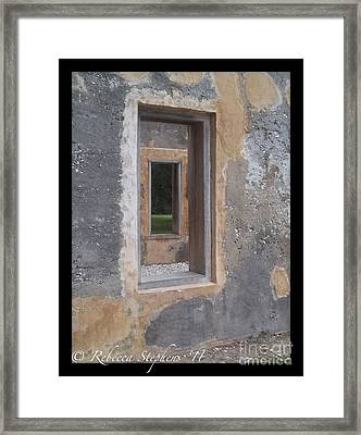 Through The Horton Window Framed Print by Rebecca Stephens