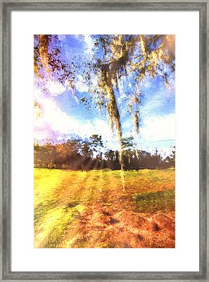 Framed Print featuring the painting Through The Moss by Annette Berglund