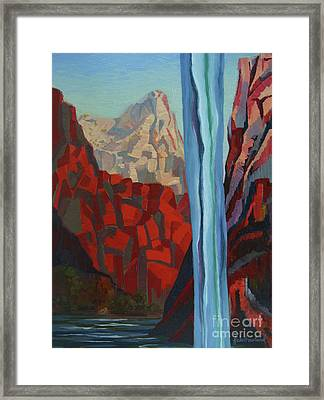 Framed Print featuring the painting Through The Narrows, Zion by Erin Fickert-Rowland