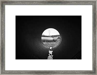 Framed Print featuring the photograph Through The Pipe by Keith Elliott
