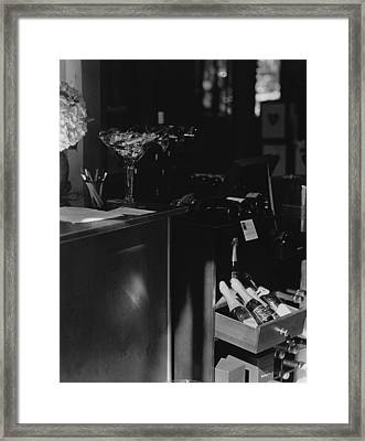 Through The Wine Shop Window Framed Print by Jim Furrer
