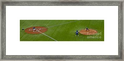 Throwing The First Pitch Framed Print by Nina Silver
