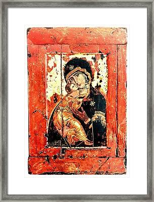 Ththe Virgin Eleusa Of Vladimir - 17 Century Framed Print by Evgeni  Andreev